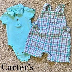 Baby Boy Green Overall And Collar Onsie